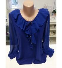 Sinine, läbipaistevate varrukatega pidulik pluus.